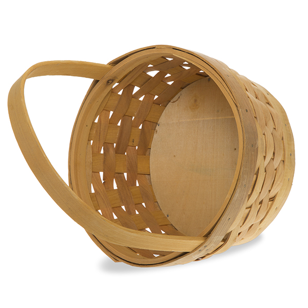 Basket Weaving Handles : Round woodchip weave handle basket the lucky clover