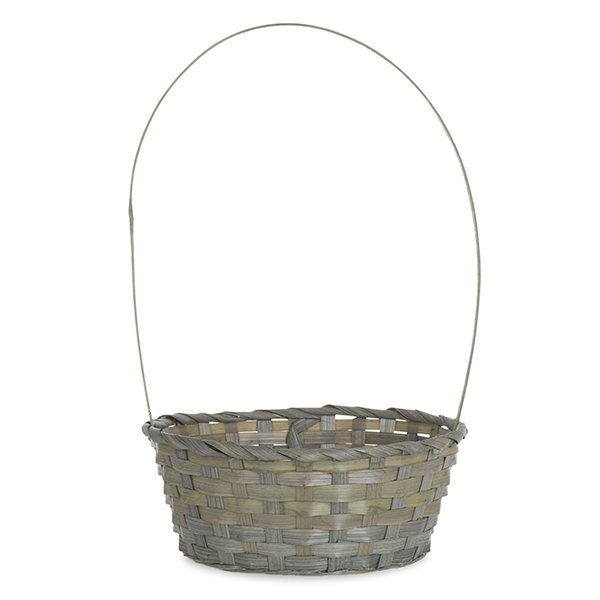 Round Bamboo Handle Basket 9in