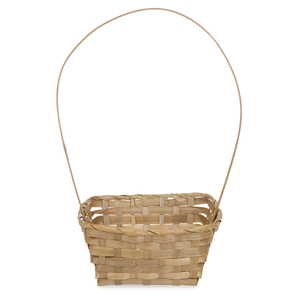 Rect Bamboo Fixed Handle Basket 8in - Light Brown
