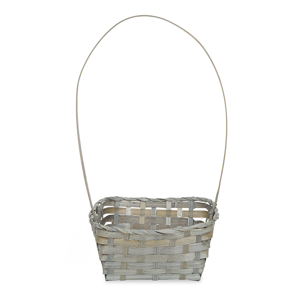 Rect Bamboo Fixed Handle Basket 9in - Antique Grey