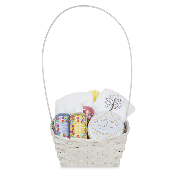 Rect Bamboo Fixed Handle Basket 9in - White Wash
