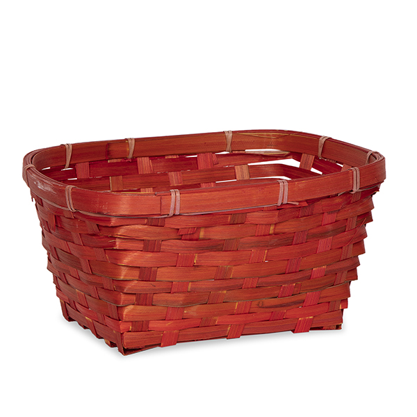 Oval Bamboo Utility Basket - Red 10in
