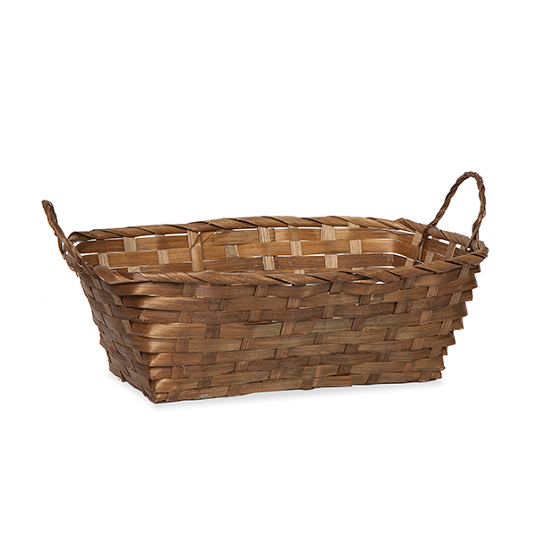 Rect Bamboo Utility Basket with Ear Handles - Brown 12in