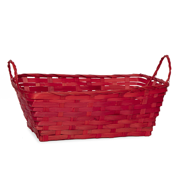 Rect Bamboo Utility Basket with Ear Handles - Red 12in