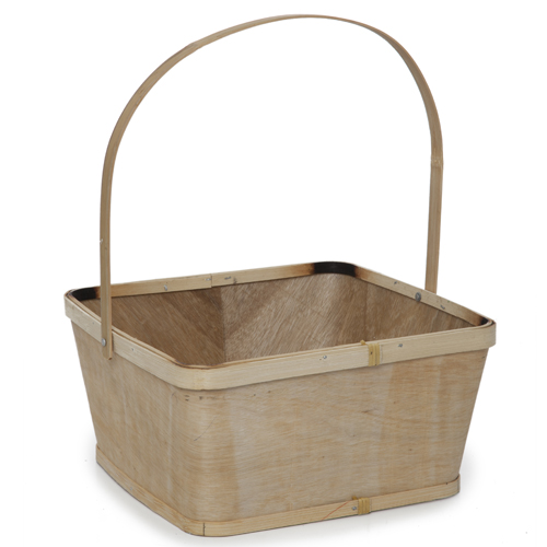 Square Woodchip Paintable Handle Basket - Large 10in