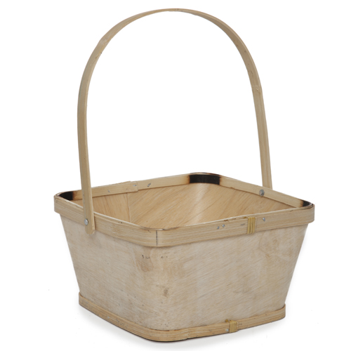 Square Woodchip Paintable Handle Basket - Medium 7in