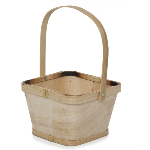 Square Woodchip Paintable Handle Basket - Small 5in