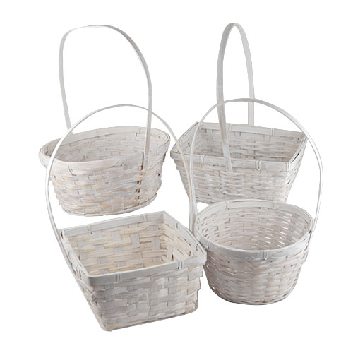 Assorted White Washed Bamboo Handle Baskets - Set of 4