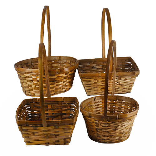 Assorted Bamboo Handle Baskets - Set of 4- 8in