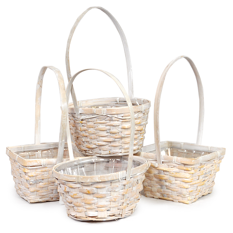 Asst White Bamboo Handle Basket Plastic Liner-Set of 4