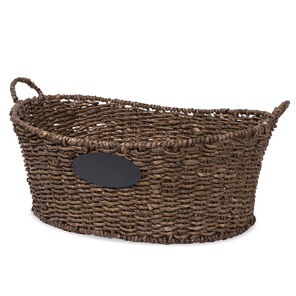Audrey Oblong Utility Basket Chalkboard Label Brown - Lrg 21in