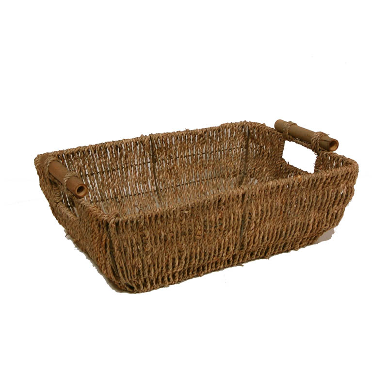 Kalani Large Sea Grass Basket with Bamboo Handle 14in
