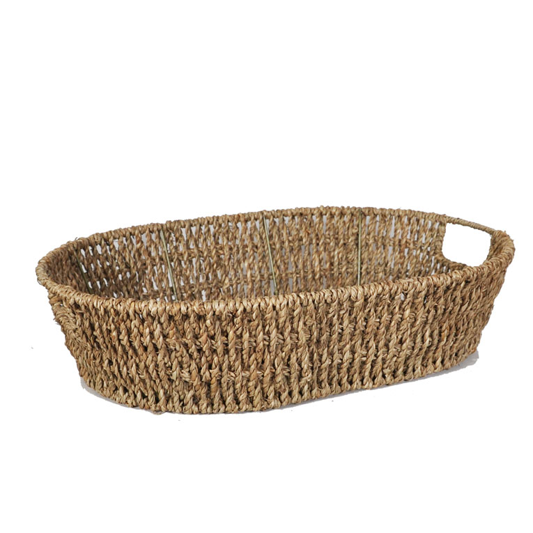 Michaela Oval Sea Grass Tray Basket 16in