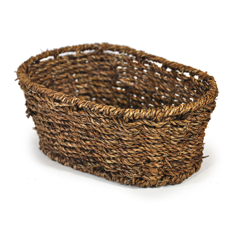 Michaela Small Oval Sea Grass Tray Basket 9in