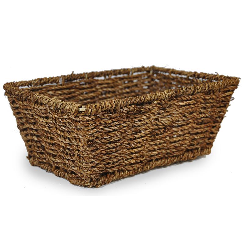 Dark Stain Sea Grass Rectangular Small Basket The Lucky