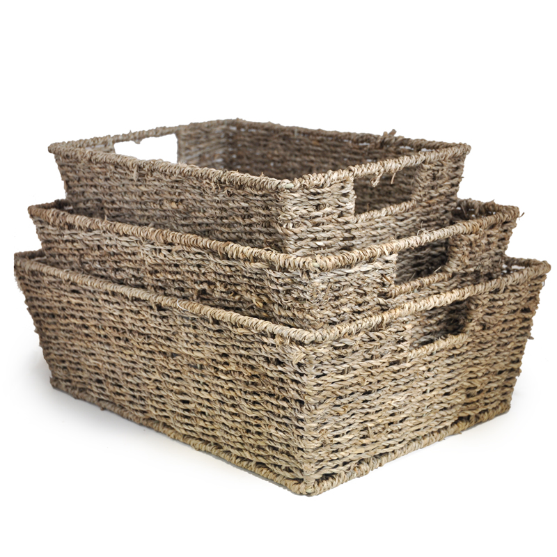 Michaela Rect Sea Grass Utility Basket - Set of Three