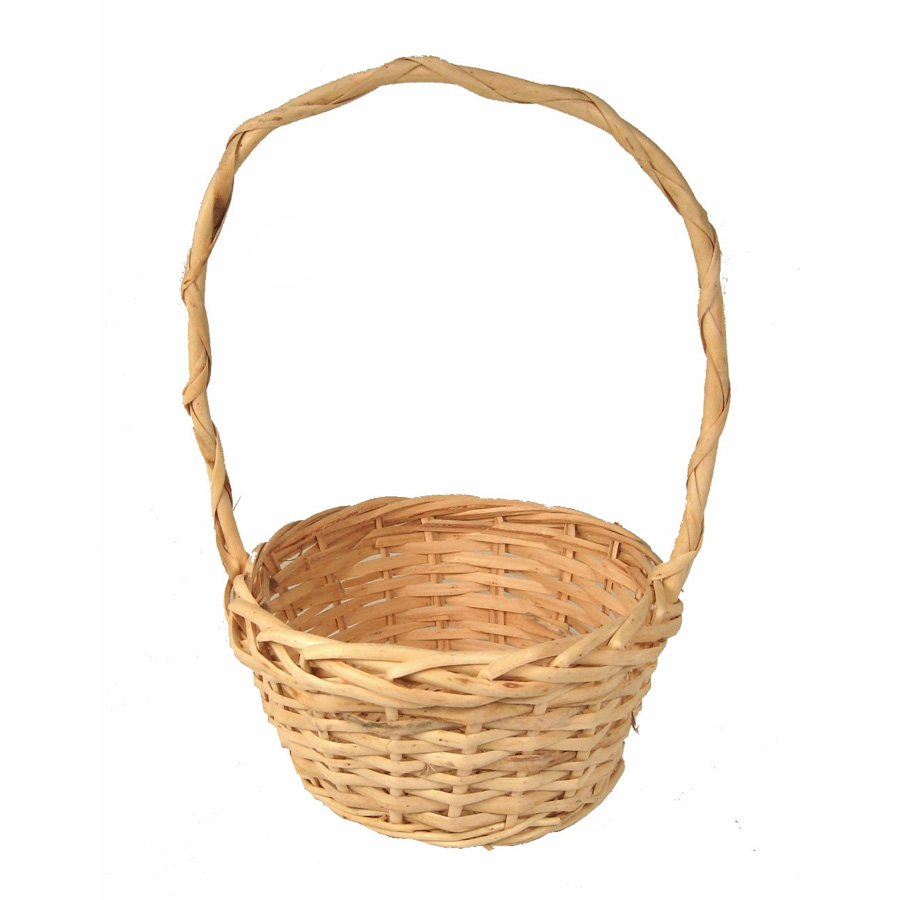 Round Willow Handle Basket 8in