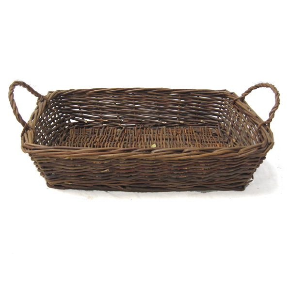 Rustic Willow Rectangular Tray Basket with Handles - Small 15in