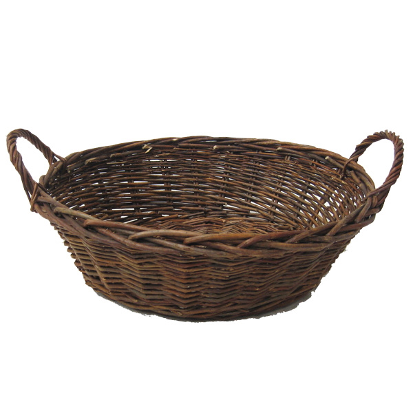 Red Willow Round Basket with Handles 15in