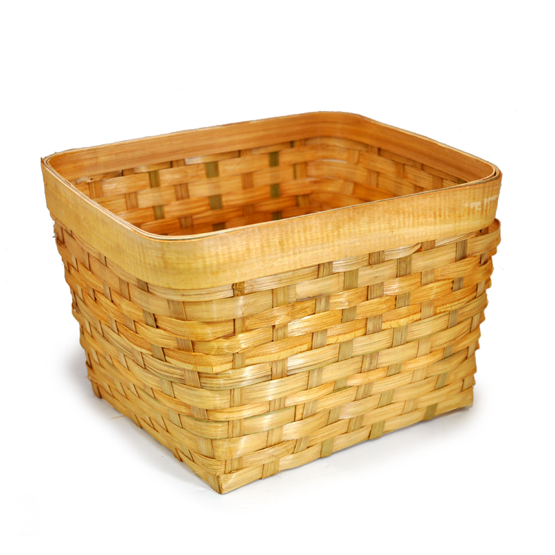 Honey Bamboo Rectangular Cubby Basket 10in