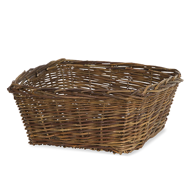 Rustic Willow Square Tray Basket - Large 12in