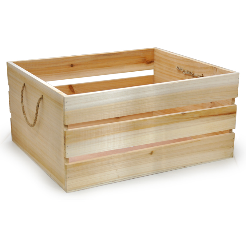 Natural Wooden Storage Box with Rope Handles The Lucky Clover Trading