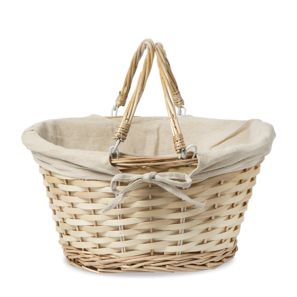 Natural Willow and Woodchip Oval Basket with Liner 12in