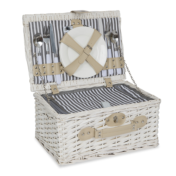 Classic White All in One Picnic Basket for Two - Medium 13in