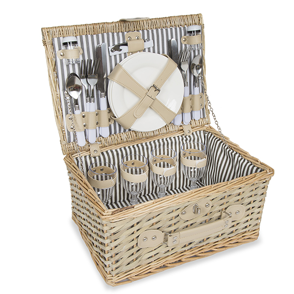 Rustic All in One Picnic Basket for Four - Large 14in