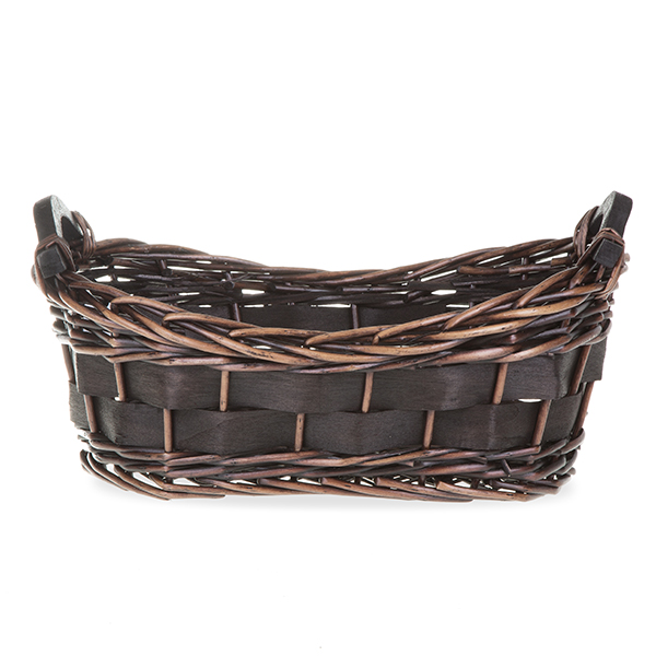 Oval Split Willow Woodchip Basket With Wood Handles 14in