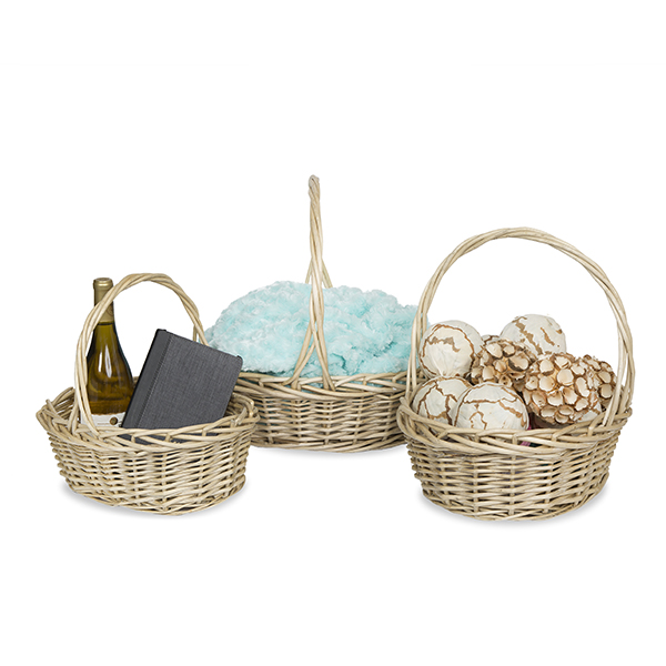 Natural with Gray Wash Willow Oval Handle Basket - Set of 3