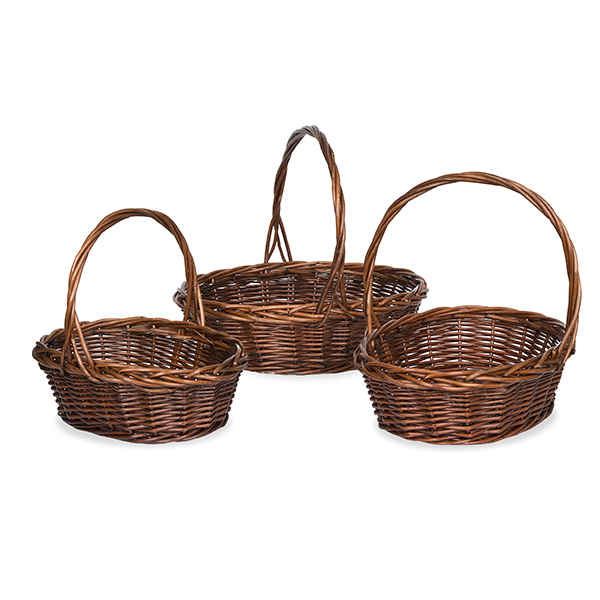 Mahogany Willow Oval Handle Basket - Set of Three