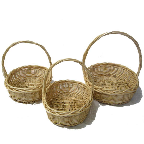 Willow Indo Oval Handle Baskets - Set of Three