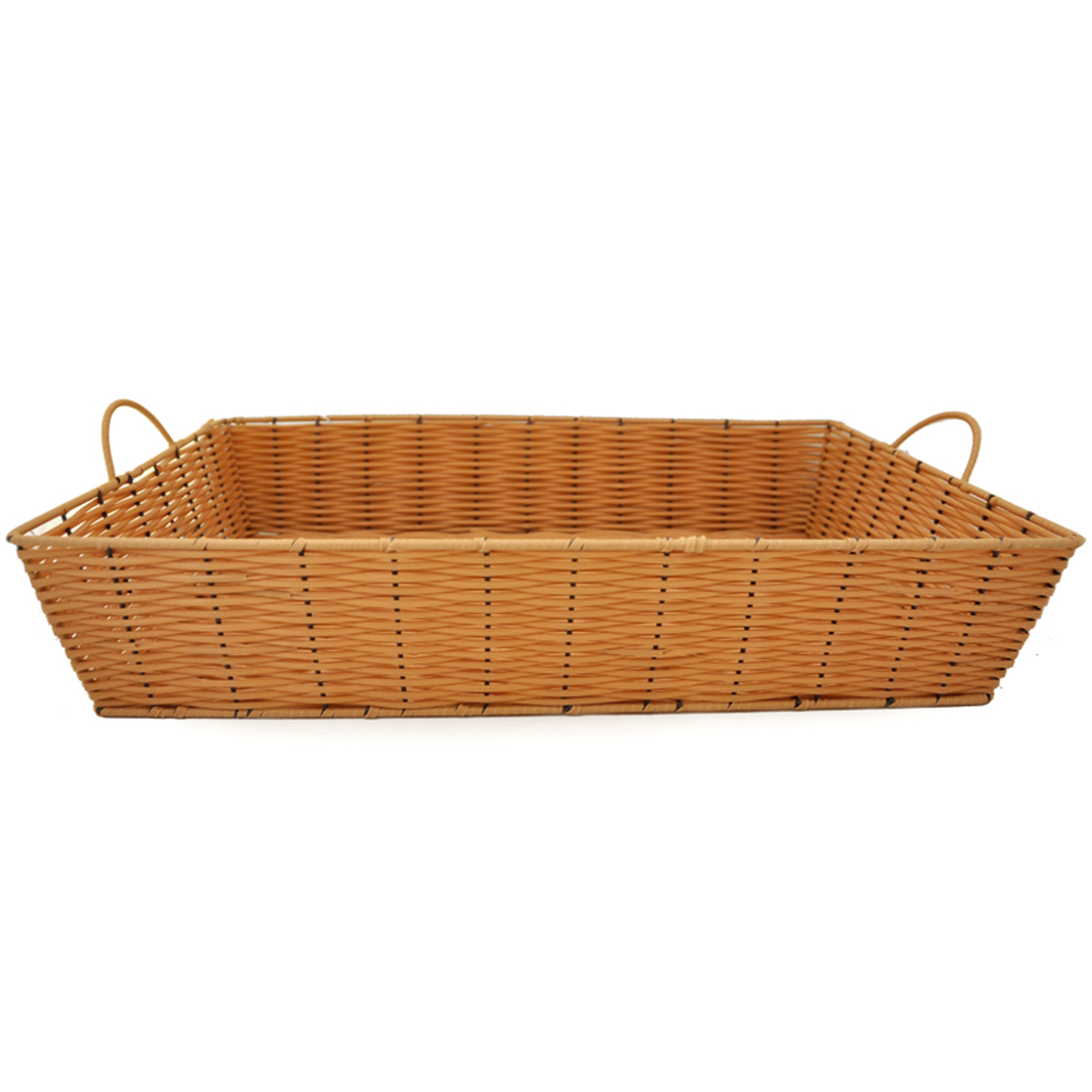 Rectangular Synthetic Wicker Tray with Handles-Extra Large 19in