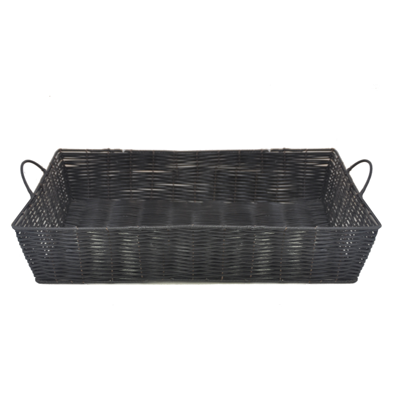 Rectangular Synthetic Wicker Tray with Handles-Extra Large 18in