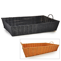 Rectangular Synthetic Wicker Tray with Handles - Medium