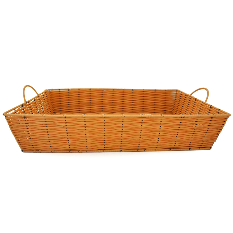 Rectangular Wicker Baskets With Handles : Rectangular synthetic wicker tray with handles extra