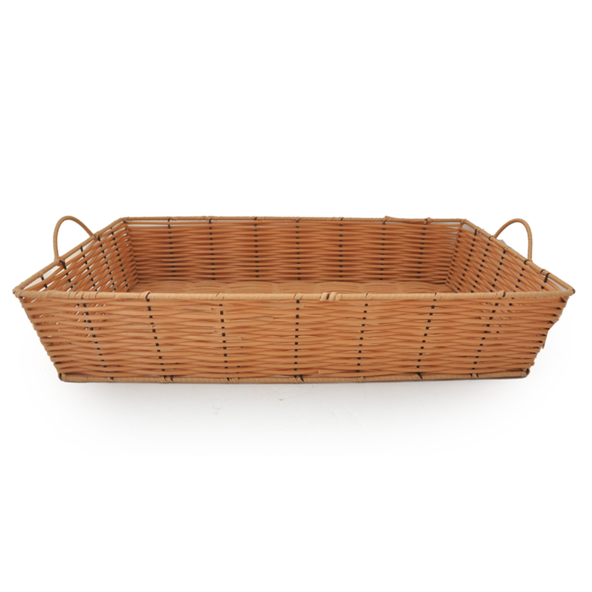Rectangular Synthetic Wicker Tray with Handles - Large 17in