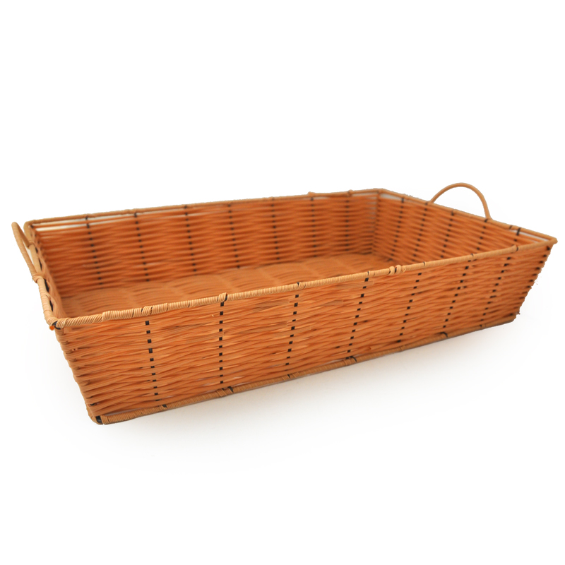 Rectangular Wicker Baskets With Handles : Rectangular synthetic wicker tray with handles large the