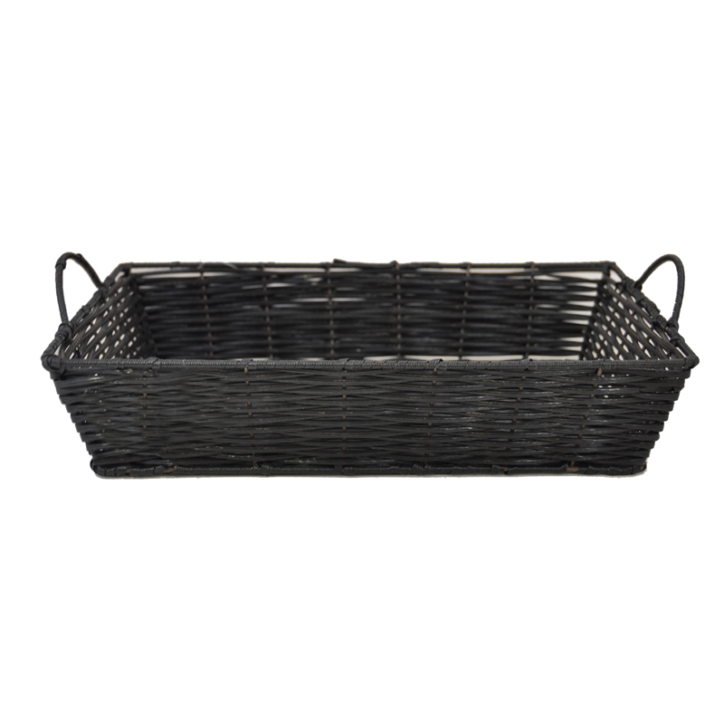 Rectangular Synthetic Wicker Tray with Handles - Medium 15in