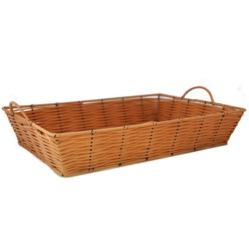 Rect Synthetic Wicker Tray with Handles Med - Clay 15in