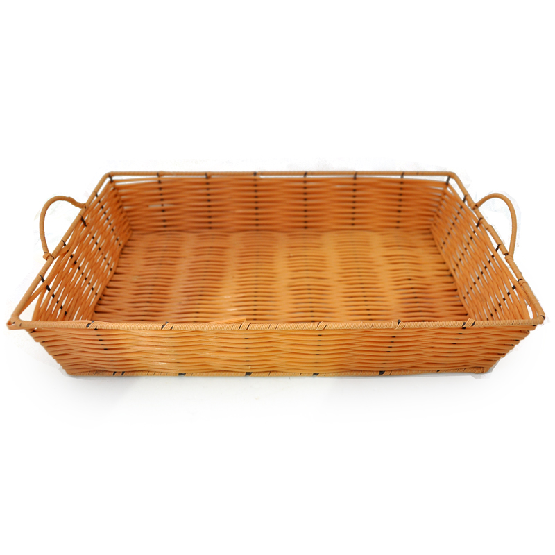 Rectangular Wicker Baskets With Handles : Rectangular synthetic wicker tray with handles medium