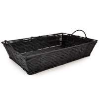 Rectangular Synthetic Wicker Tray with Handles - Small