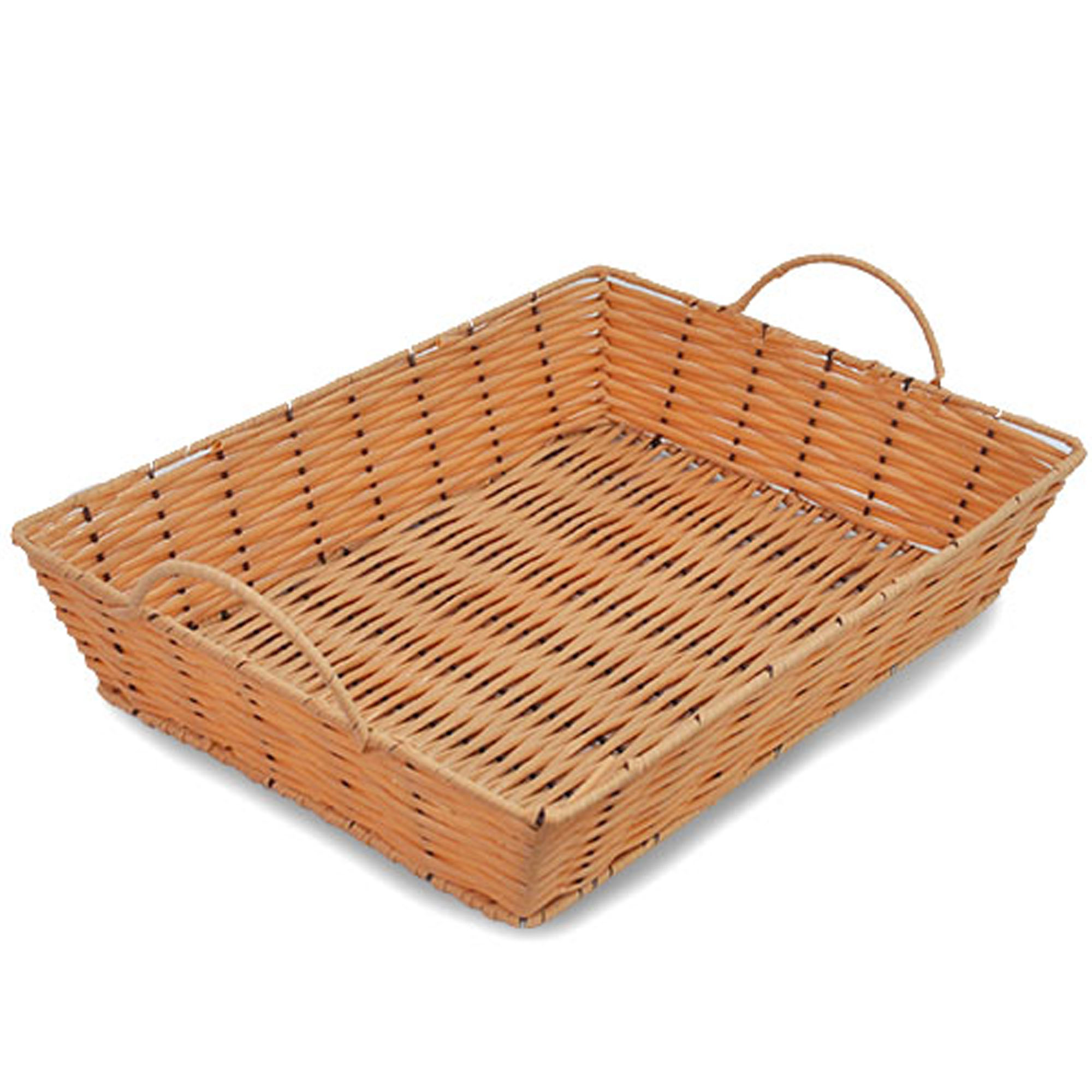 Rectangular Synthetic Wicker Tray with Handles - Small 13in