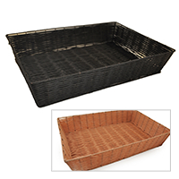 Deep Rectangular Synthetic Wicker Tray - Large