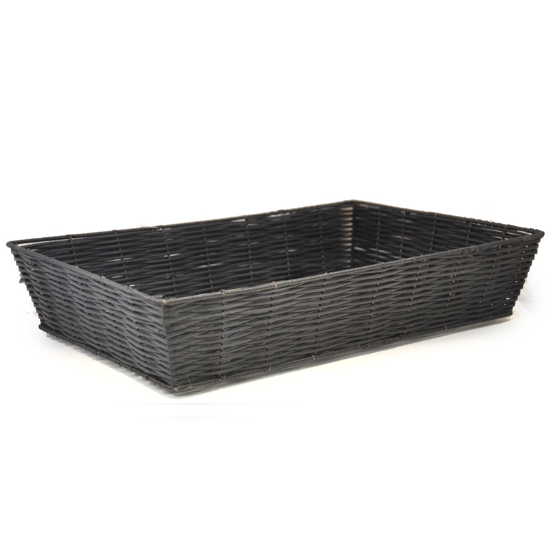 Rectangular Synthetic Wicker Tray Large - Black 17in