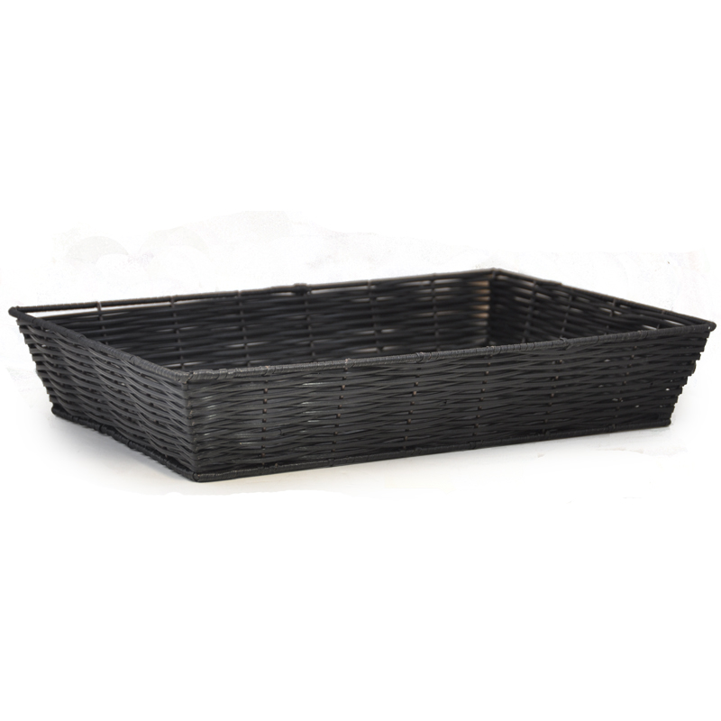 Rectangular Synthetic Wicker Tray - Black 15in