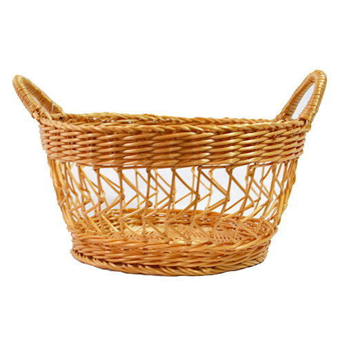 Round Wicker Baskets With Handles : Synthetic round wicker basket with side handles the lucky