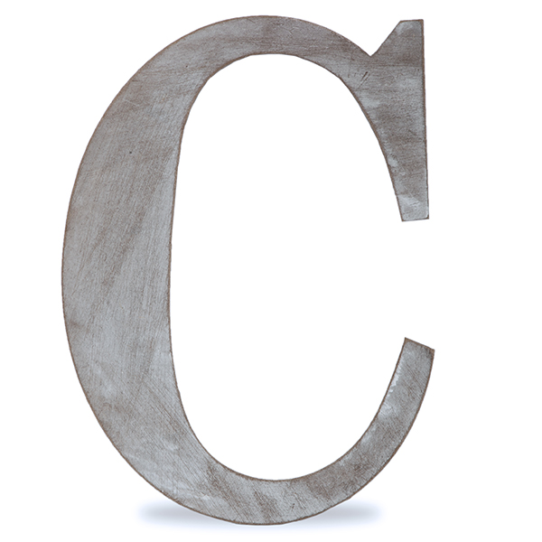 C Letter Block Wood Block Letter Charcoal Grey 14in C The Lucky
