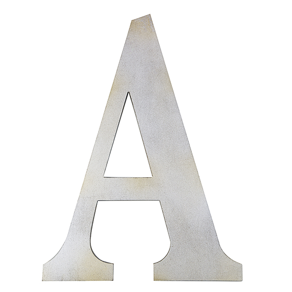 Wood Block Letter - Metallic Silver with Gold Tones 14in